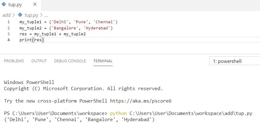 Python concatenate two tuples
