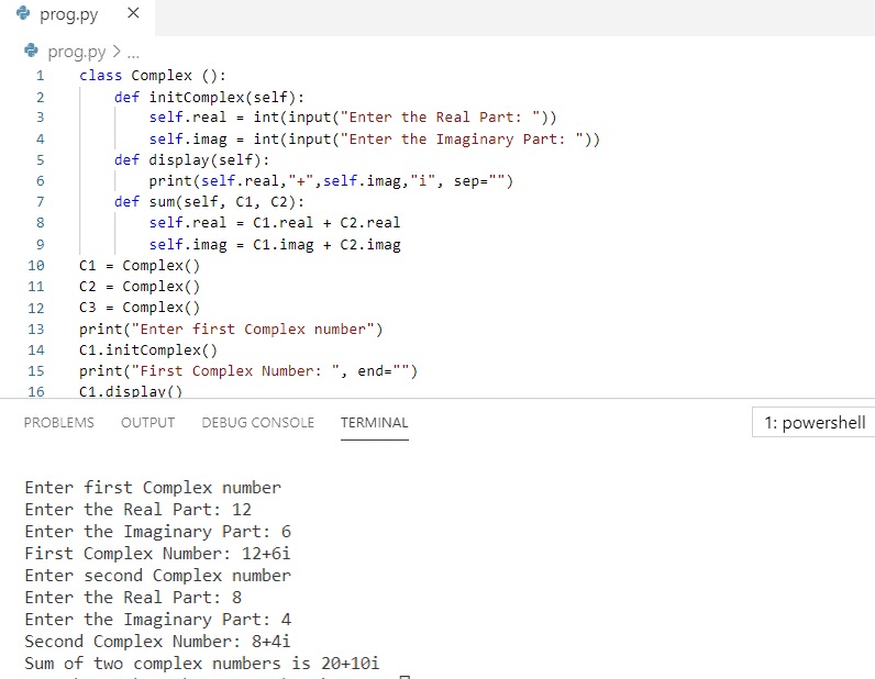 Python program to add two complex numbers using class