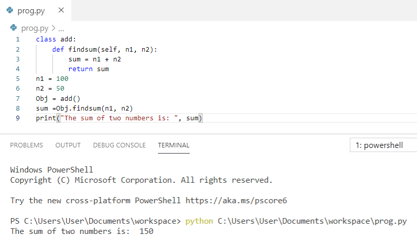 Python program to add two numbers using class