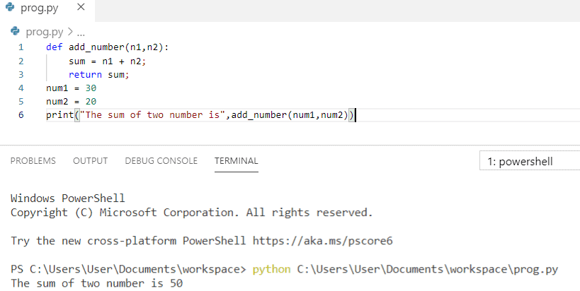 Python program to add two numbers using functions