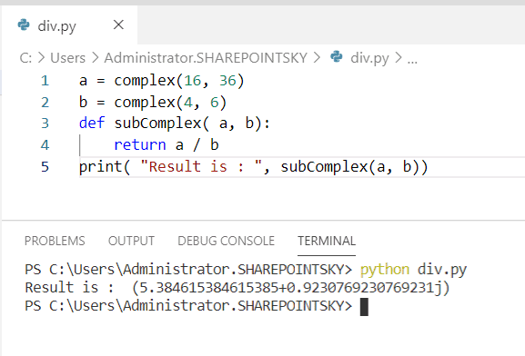 Python program to divide complex numbers