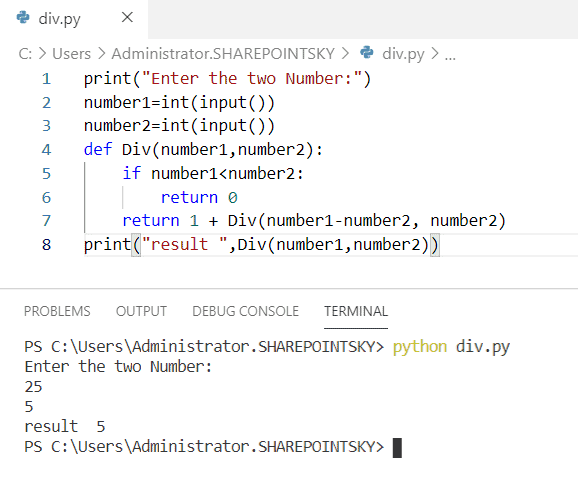 Python program to divide numbers using recursion