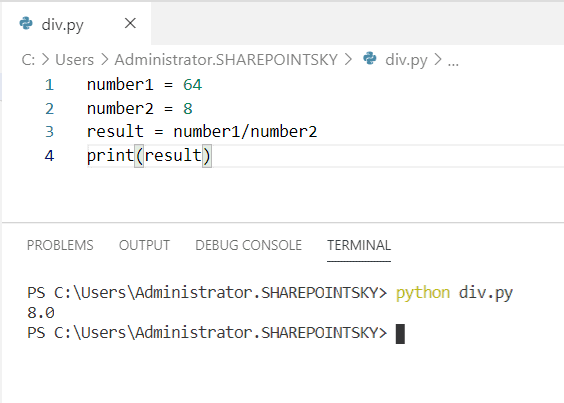 Python program to divide two numbers