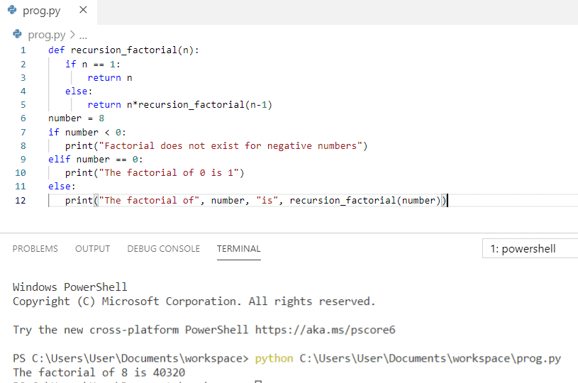 Python program to find factorial of a number using recursion