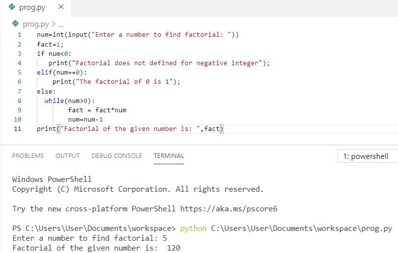 Python program to find factorial of a number using while loop