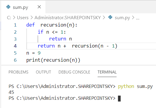 Python program to find sum of n numbers using recursion