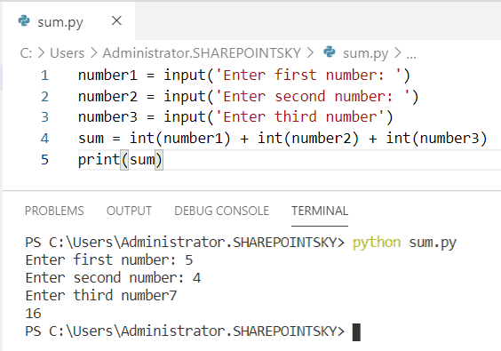 Python program to find the sum of 3 numbers