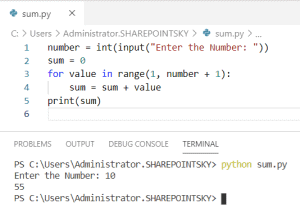 Python program to find the sum of n numbers using for loop