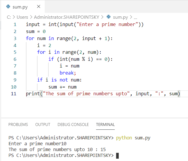 Python program to find the sum of n prime numbers 1