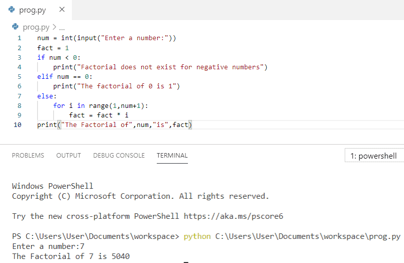 Python program to print factorial of a number by getting input from a user