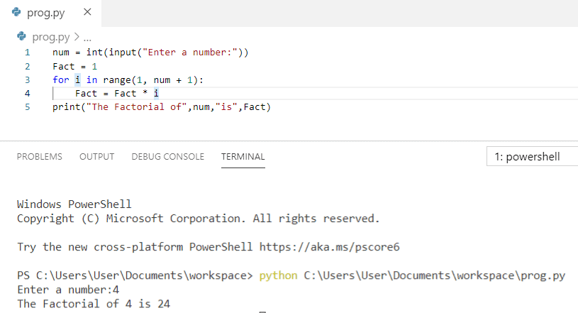 Python program to print factorial of a number using for loop