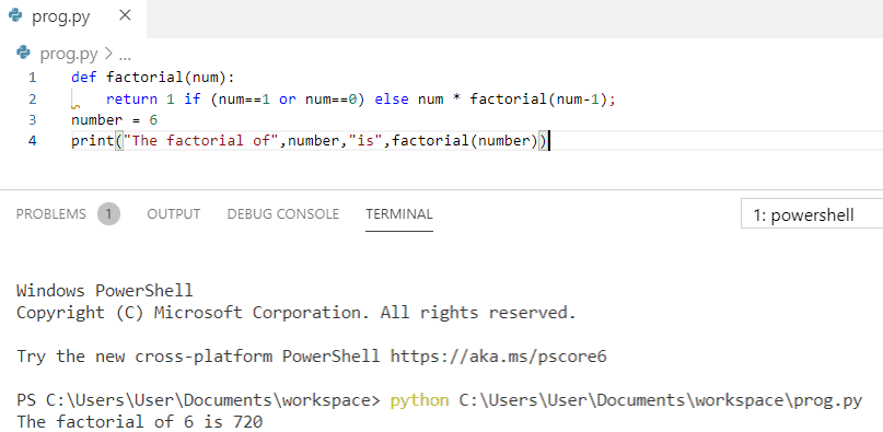 Python program to print factorial of a number using function