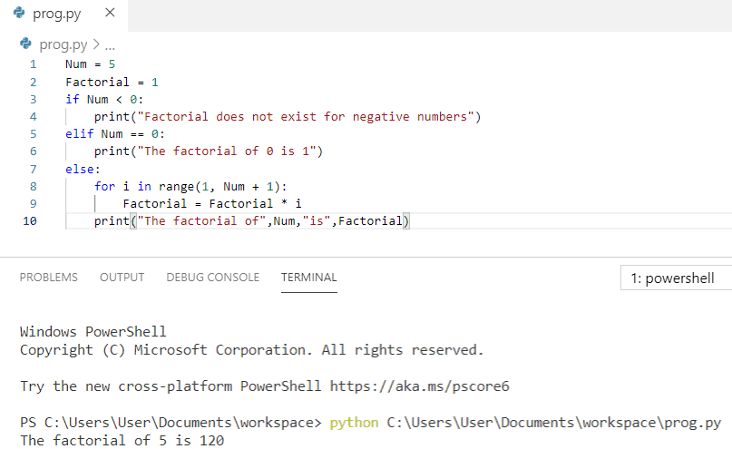 print factorial of a number in Python