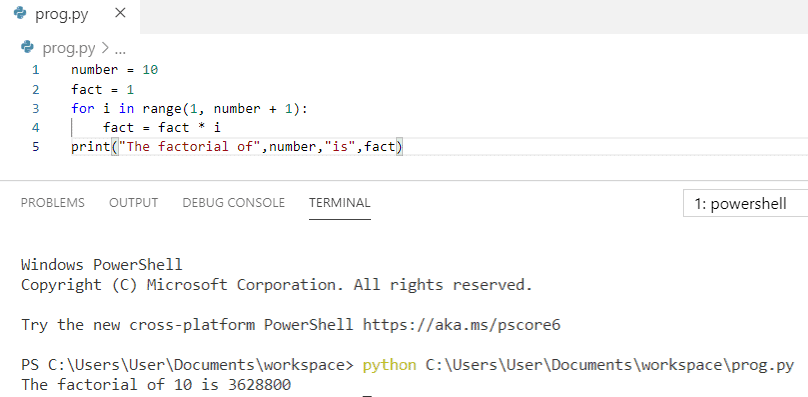 Python program to print factorial of number 10