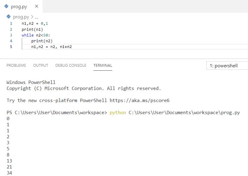 Python program to print fibonacci series between 0 to 50