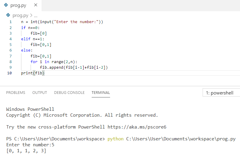 Python program to print fibonacci series in python using a list