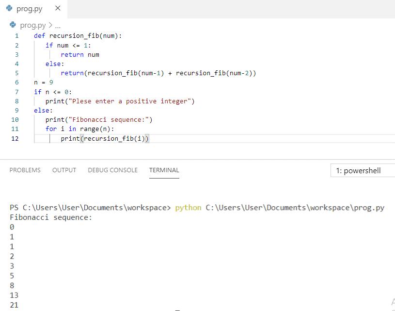 Python program to print fibonacci series until 'n' value using recursion