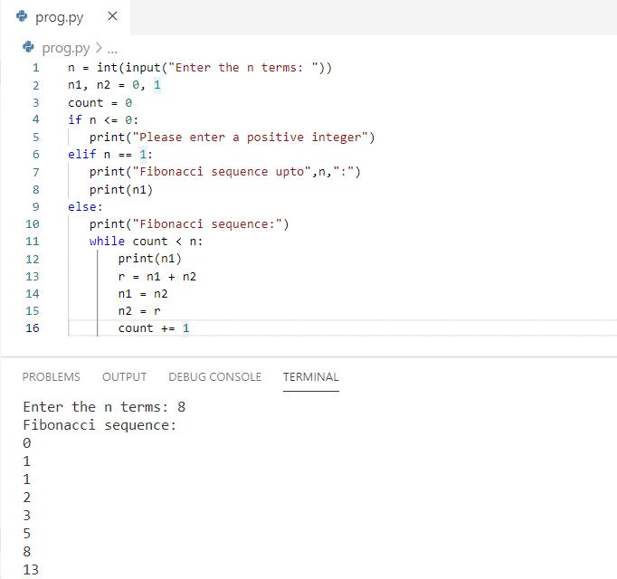 Python program to print fibonacci series up to n terms