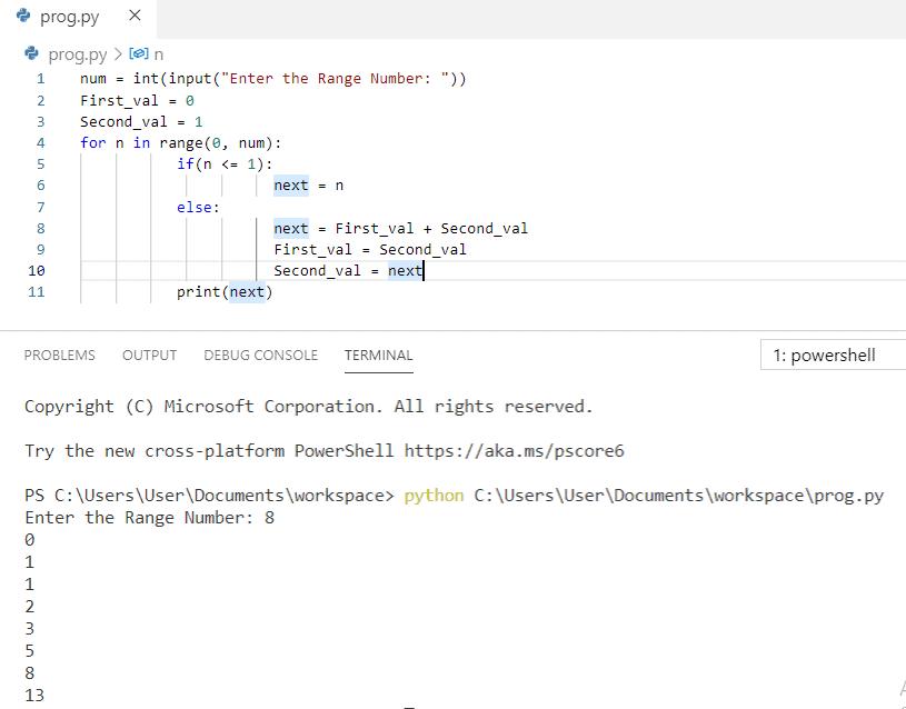 Python program to print fibonacci series using for loop
