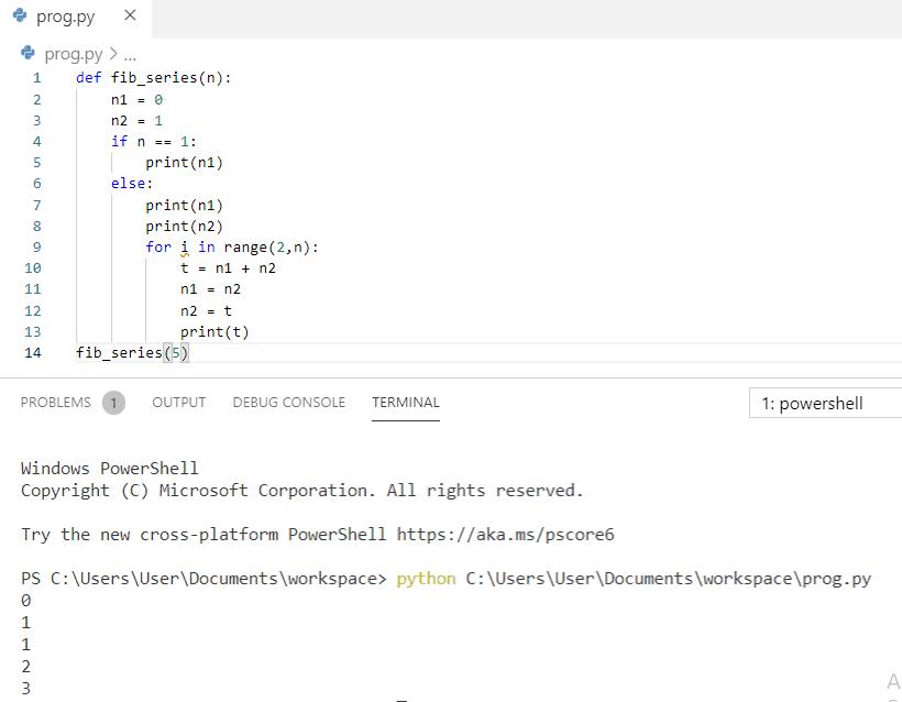 Python program to print fibonacci series using function