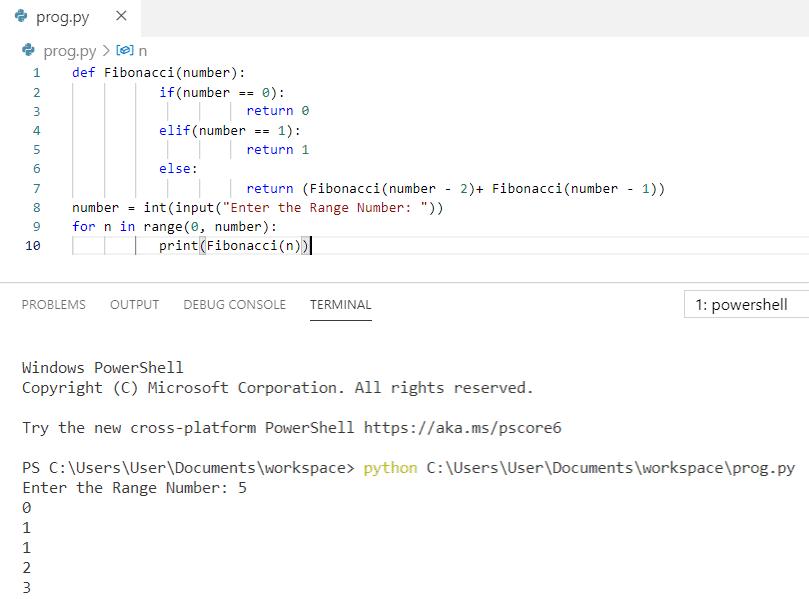 Python program to print fibonacci series using recursion