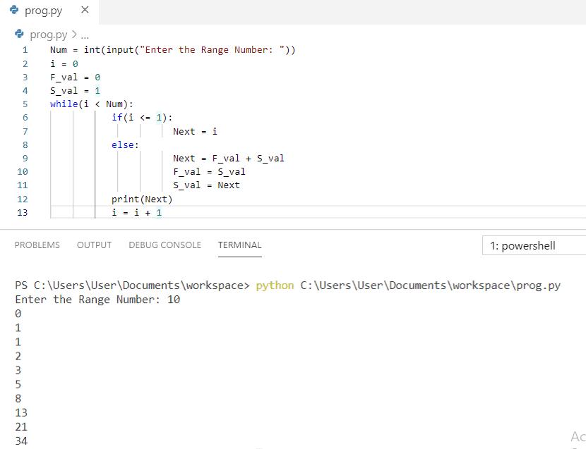 Python program to print fibonacci series using while loop