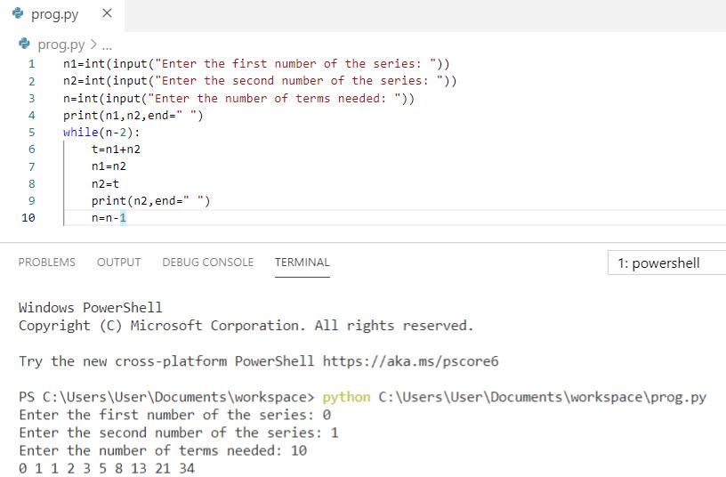 Python program to print fibonacci series without using recursion
