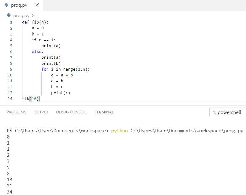 Python Fibonacci series