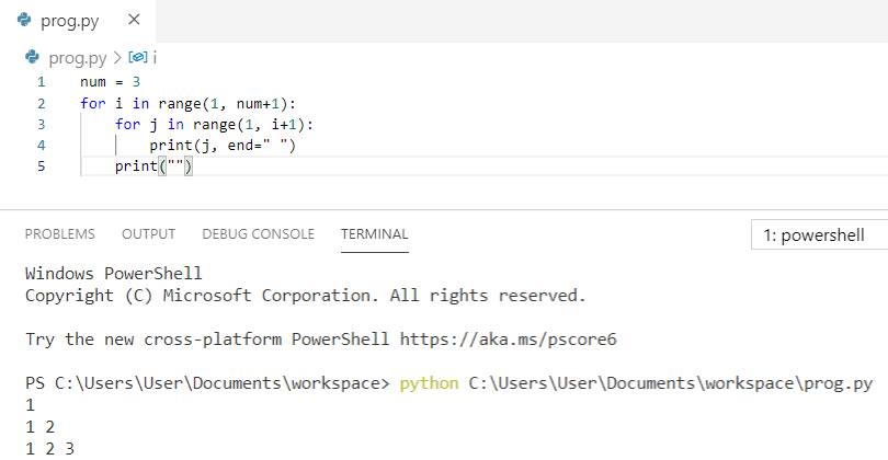 Python program to print pattern 1 12 123