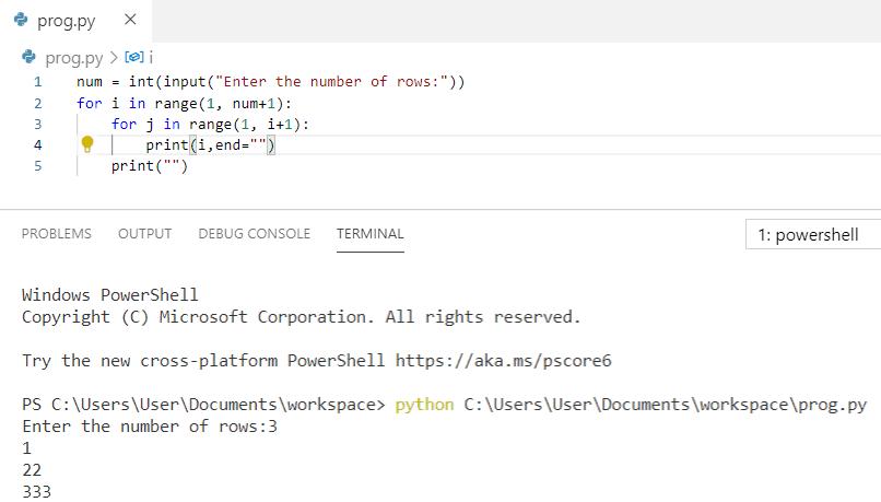 Python program to print pattern 1 22 333