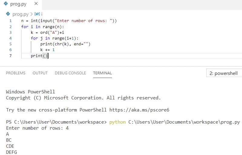 Python program to print pattern A BC CDE DEFG