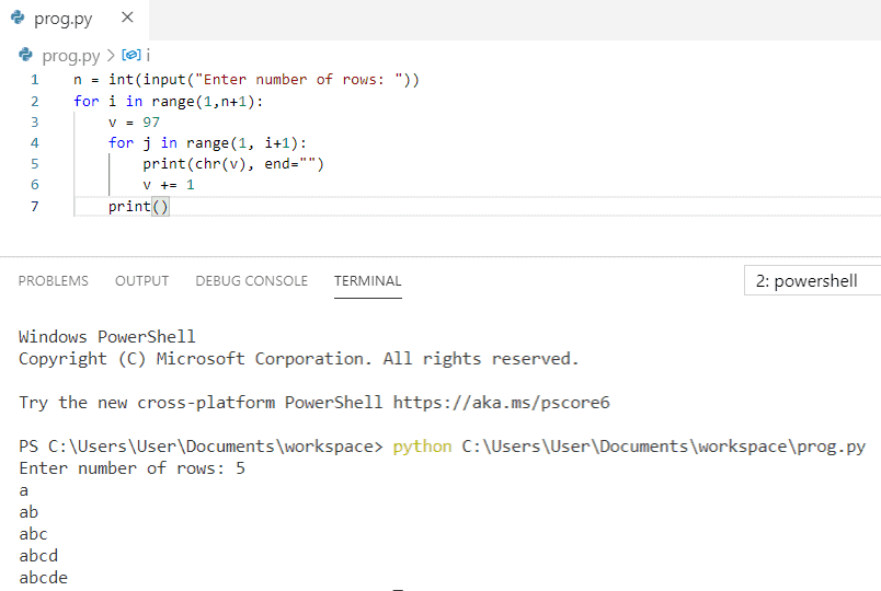 Python program to print pattern a ab abc abcd abcde