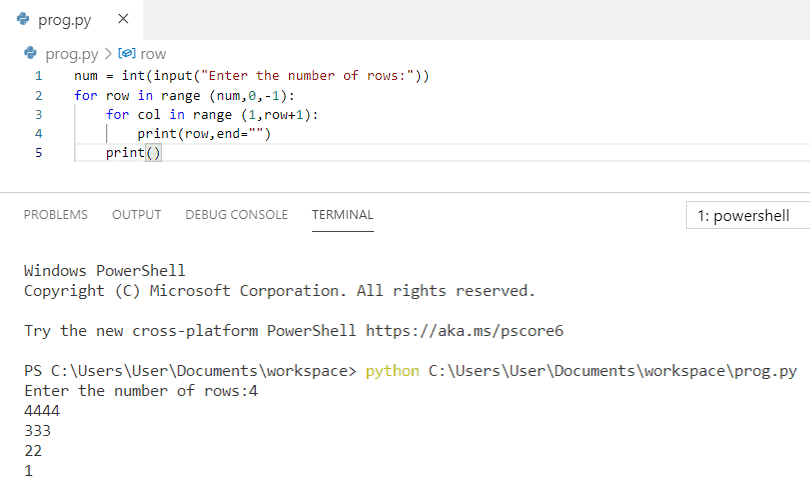 Python program to print pattern of numbers in reverse order