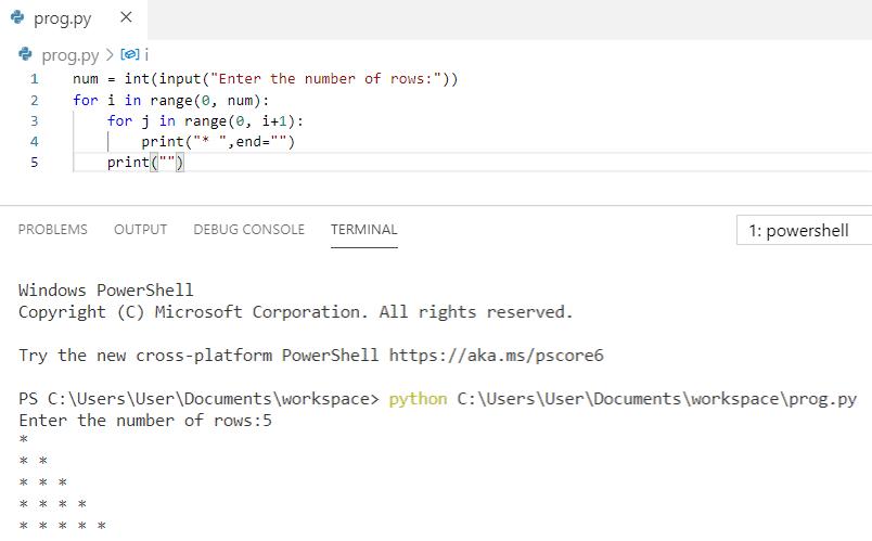 Python program to print pattern of stars