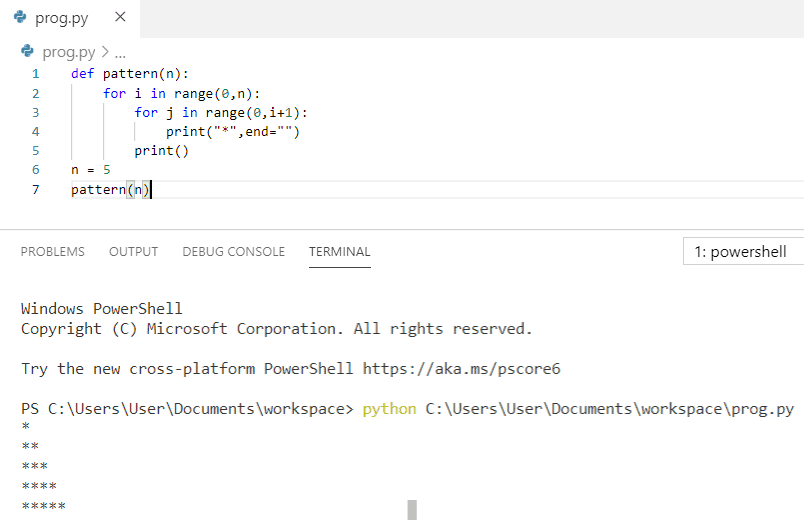 Python program to print pattern using nested for loop