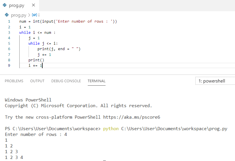 Python program to print pattern using while loop