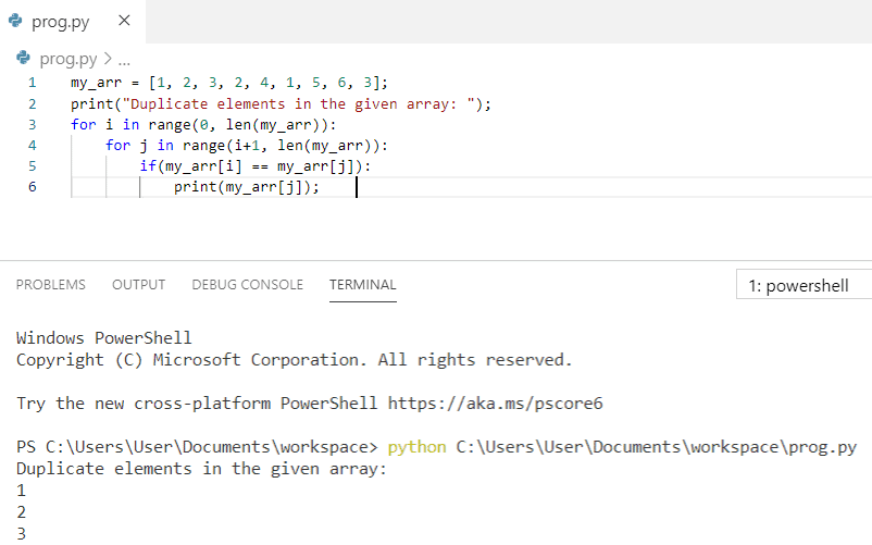 Python program to print the duplicate elements of an array
