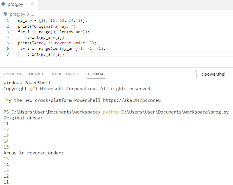 Python program to print the elements of an array in reverse order