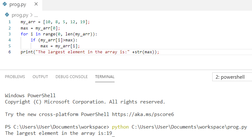 Python program to print the largest element in an array
