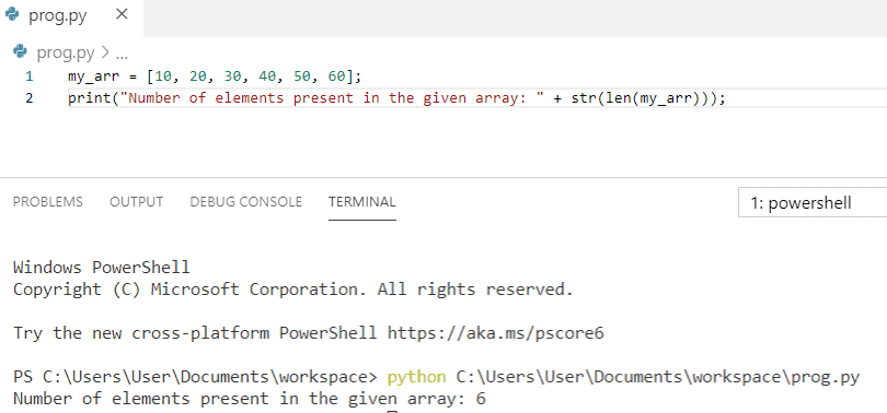 Python program to print the number of elements present in an array