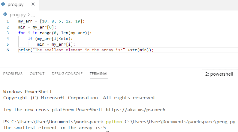 Python program to print the smallest element in an array