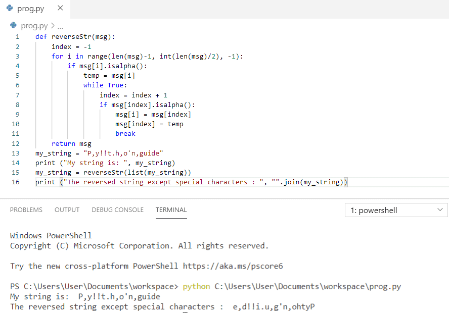 Python program to reverse a string except special characters