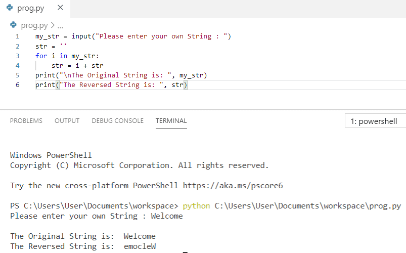Python program to reverse a string from user input