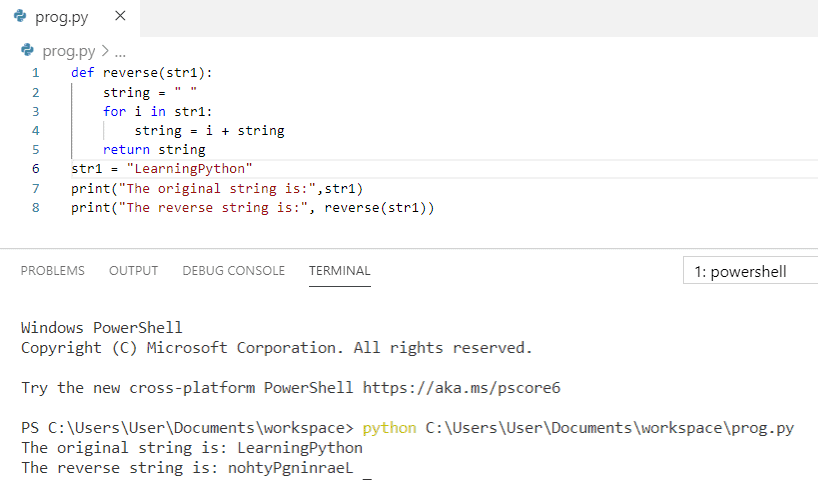 Python program to reverse a string using function