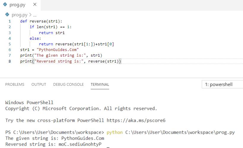 Python program to reverse a string using recursion
