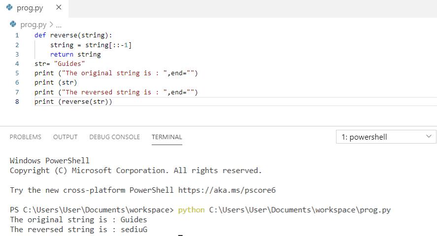 Python program to reverse a string using slicing