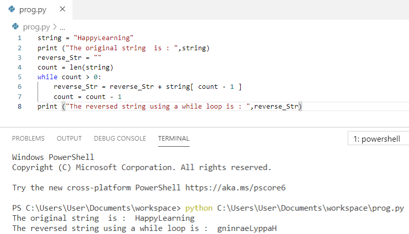 Python program to reverse a string using while loop