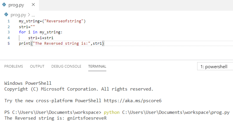 Python program to reverse a string without using function in python