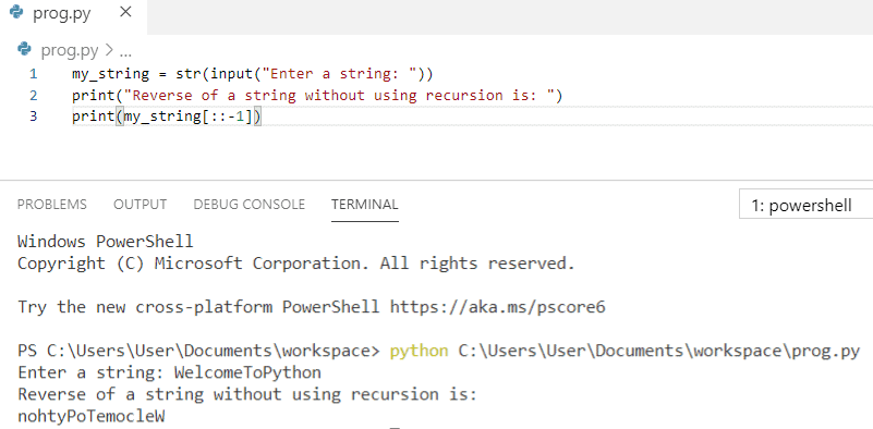Python program to reverse a string without using recursion