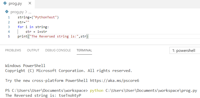 Python program to reverse a string without using reverse function